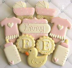 Baby Shower Cookies~      By iBakes on Etsy, Pink Onesie, pink buggies, pink bottles, Yellow ducks, initial