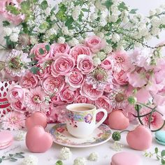 Image may contain: flower Sunday Coffee, Good Morning Coffee, Coffee Cafe, Tea Etiquette, Coffee Flower, Pink Themes, Coffee Photography, Flower Art, Pretty In Pink