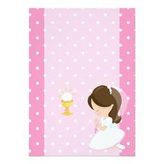 Invitación Primera comunión santa First Communion Dresses, First Holy Communion, Communion Invitations, Cartoon Wallpaper, Holi, Angel, Crafts, Confirmation, Eucharist