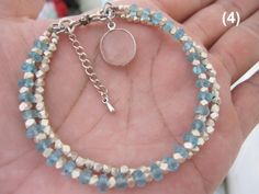 Blue apatite with Karen Hill Tribe Silver Beads by ALORJEWELRY