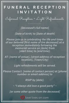 Funeral Reception Invitations Sample Wording For A Informal With Light Refreshments Click More Samples