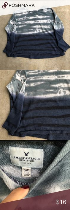 || American Eagle Outfitters || Ombré Sweatshirt || Details || Gorgeous tie dye and ombré sweatshirt. Dropped shoulders and slight high/low detail.   || Condition || Gently loved. There is some very slight pilling and a couple small stains on the back right shoulder, hardly noticeable, but noted in the last photo.   Offers welcome. 🌿 American Eagle Outfitters Sweaters Crew & Scoop Necks