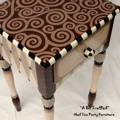"""A BitTruffled hand painted occasional table by Mad Tea Party Furniture"