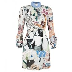 Carven Multicoloured Photographic Print Silk Shirt Dress (€520) ❤ liked on Polyvore featuring dresses, vestidos, long sleeve silk dress, shirt-dress, long sleeve shirt dress, pleated dress and pale blue dress