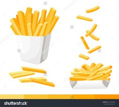 French fries in paper box, isolated vector set of fast food icons potato Paper Illustration, Food Illustrations, Icon Design, Logo Design, Food Icons, French Fries, Flat Design, Animation, Cute Drawings