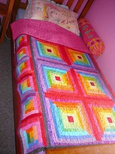 Patchy Work of Mini Grey: Grace's Rainbow Log Cabin Quilt Finished!
