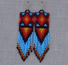 Native American Earrings Inspired. Multicolor Long by Burvesrotas, $54.00