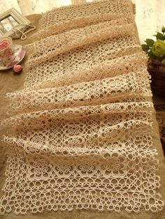 "Vtg Tatted Lace Table Runner Dress Scarf Ecru ~Wedding Rustic Chic - 50"" LONG - Runners"