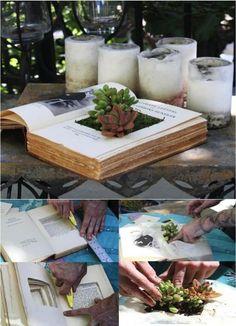 Hot To Make A Book Planters ................FOLLOW DIY Fun Ideas............BEST DIY SITE EVER!!