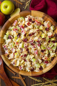 Apple Fruit Salad (with Creamy Cinnamon Dressing) - Cooking Classy - The perfect autumn fruit salad! Its loaded with crisp, sweet apples, cranberries and walnuts and covered in a rich, cinnamon cream cheese dressing. Whats not to love 12 servings Apple Walnut Salad, Healthy Fruits, Healthy Snacks, Healthy Recipes, Apple Salad Recipes, Apple Fruit, Apple Cranberry Salad, Cinnamon Apples, Vegetarian