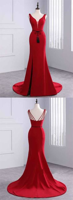elegant red mermaid prom dress with beading sash, bodycon red satin mermaid party dress with sweep train