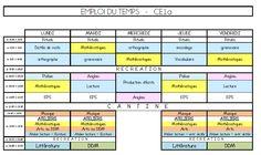 Mon emploi du temps pour le CE1 - L'école de Crevette Periodic Table, Alphabet, Cycle 2, Organiser, Education, Ranger, Stage, Math Words, Elementary Schools