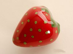 Etsy listing at https://www.etsy.com/listing/172932681/red-strawberries-dresser-knob-pull