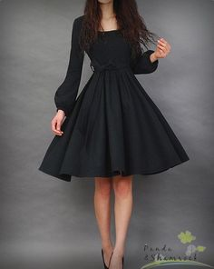Let's dance/dress/winter/long sleeves/flowing/women dress/round neck