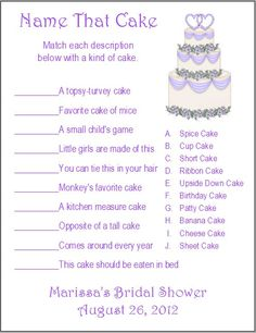 Cake Images With Name Kavita : 1000+ images about Games on Pinterest Bridal shower ...