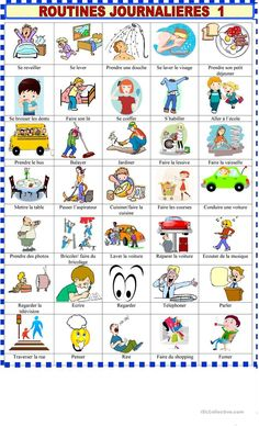 Everyday life action verbs 1 - English ESL Worksheets for distance learning and physical classrooms French Verbs, French Grammar, English Verbs, English Vocabulary, French Language Lessons, English Lessons, Teaching French, Teaching English, Learn French