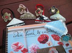 InkyPinkies: Corner Bookmark with Origami Flower Dangle
