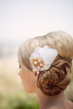 Champagne dreams feather hair comb by TessaKim on Etsy, $89.00