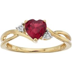 10k Gold Garnet & Diamond Accent Swirl Heart Ring ($257) ❤ liked on Polyvore featuring jewelry, rings, red, yellow gold rings, gold jewelry, gold ring, heart shaped rings and red garnet ring
