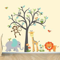 Boy Room Safari Wall Decal, Nursery Wall Decal, Jungle Animal wall decal, Tree Wall Decal, Navy & Shades of Green Design - Ideen finanzieren Nursery Wall Decals Boy, Jungle Wall Stickers, Animal Wall Decals, Safari Nursery, Kids Wall Decals, Nursery Decor, Animal Nursery, Girl Nursery, Room Decor