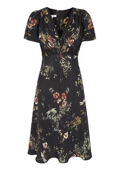 30s Dragonfly Print Tea Dress