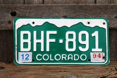 Colorado License Plate Number BHF891 with December 1994 Registration Sticker