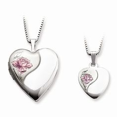 Rose Heart Locket & Pendant Set
