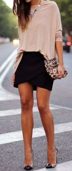 #street #style #casual #outfits #spring #outfit #ideas | Nude top + black skirt