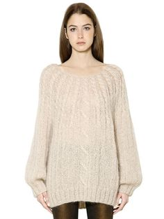 MES DEMOISELLES - CABLE KNIT SWEATER - KNITWEAR - IVORY - LUISAVIAROMA - Ribbed cuffs and hem . Cable knit . Sample size: 1
