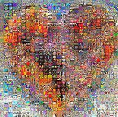 Paper heart patchwork artwork in Vantaa, Finland