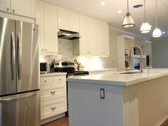 White Kitchen With Ikea Cabinets Restoration Hardware Pulls Marble Backsplash Quartz Countertop