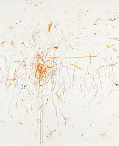 REBECCA HORN    « Nini Fee », 2006  acrylic, crayon, crayon de couleur   207 x 175 x 4.5 cm