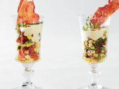Most Paris bistros serve at least one verrine: a multi-textured salad or dessert layered in a glass. This one comes from French-born food stylist Béatrice Peltre. via food and wine Pork Spring Rolls, French Appetizers, Zucchini Tomato, Summer Dishes, Hors D'oeuvres, French Food, French Deserts, Wine Recipes, Cooking Recipes