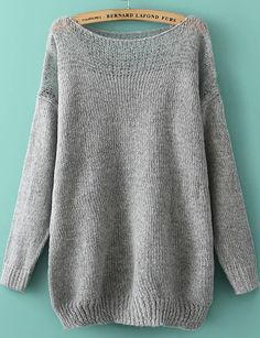 Grey Loose Sweater with Raglan Sleeve 20.33