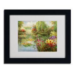 'Water Lilies' by Victor Giton Matted Framed Painting Print