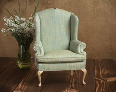 1/4 scale Doll Wingback Chair with wood cabriole legs by toteetoy