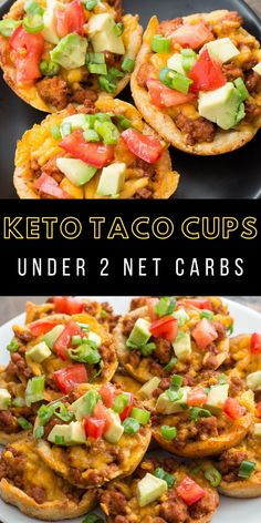 These easy Keto Taco Cups are made with low carb fat head dough, seasoned taco meat and cheddar cheese! Each cup is less than 2 net carbs and loaded with taco flavor! Mexican Food Recipes, Diet Recipes, Healthy Recipes, Diabetic Dinner Recipes, Easy Low Carb Recipes, Dessert Recipes, Low Cholesterol Recipes Dinner, Advocare Recipes, Keto Lunch Ideas