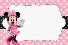 <center>Minnie rosa e preto</center> Image Minnie Mouse Baby Room, Minnie Mouse 1st Birthday, Minnie Mouse Theme, Minnie Mouse Template, Disney Scrapbook, Mouse Parties, Baby Shower Invitations, Google, Invitation Ideas