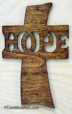 Hope Cross, New Handmade Wood, for Wall Hanging or Ornament, Item S4-4