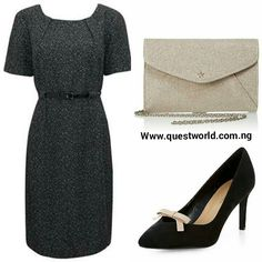 Formal but cute #dress #clutch #shoes www.questworld.com.ng Nationwide Delivery. Pay on delivery within Lagos.