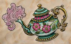 teapot tattoo drawing