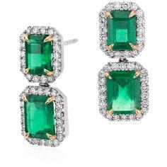 Blue Nile Emerald-Cut Emerald Diamond Pav Drop Earrings (26 635 BGN) found on Polyvore featuring women's fashion, jewelry, earrings, emerald earrings, diamond jewelry, 18k diamond earrings, round earrings and diamond earrings