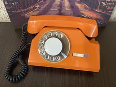 Vintage orange phone 72s, Old rotary phone, circle dial rotary phone, Vintage landline phone, Old Dial Desk Phone, Retrophone, Orange phone Vintage Phones, Vintage Telephone, Orange Phone, Rare Fish, Pay Attention To Me, Retro Phone, Vintage Gifts, Rotary, Landline Phone