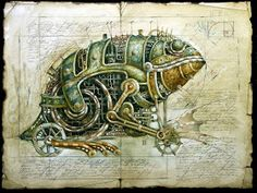 (some very beautiful drawings by Vladimir Gvozdariki from his website of machine animals that seem to come out from some Industrial utopian world. Steampunk Drawing, Arte Steampunk, Steampunk Artwork, Steampunk Crafts, Steampunk Makeup, Steampunk Bedroom, Steampunk Furniture, Steampunk Men, Steampunk Gadgets