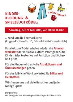 Kinder Trödelmarkt am 09.Mai rund um die Thomaskirche in #Düsseldorf - mit Fahradwerkstatt und Unterhaltungsprogramm!