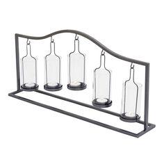 Hanging Glass Bottle 5-Votive Candle Holder, Black