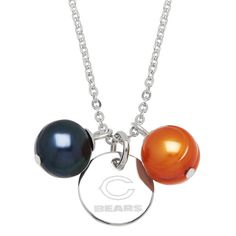 Officially Licensed NFL Chicago Bears Stainless Steel 9-10mm Orange & Blue Freshwater Cultured Pearl Pendant Round Etched Logo on Disc. Style NFP8460CB175