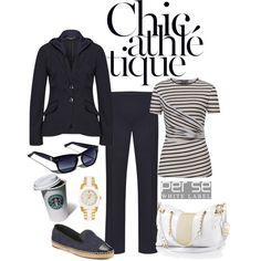 MONTEREY navy blue jacket with detachable hood, and stretch boot-cut pant, with SEASIDE navy and white striped top, and CASSANDRA handbag | CARLISLE COLLECTION SPRING 2014