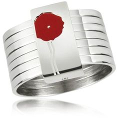 Kenzo Flower - Sterling Silver Stacked Ring w/Red Lacquer ($212) ❤ liked on Polyvore
