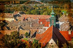 Picture of View of the old roof in Novi Sad, Serbia from the Petrovaradin fortress height. Image digitally manipulated in the form of old postcard. stock photo, images and stock photography. Novi Sad, Old Postcards, Old Things, Cabin, Stock Photos, House Styles, Digital, Image, Photography